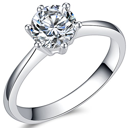 (Jude Jewelers 1.0 Carat Classical Stainless Steel Solitaire Engagement Ring (Silver, 7))