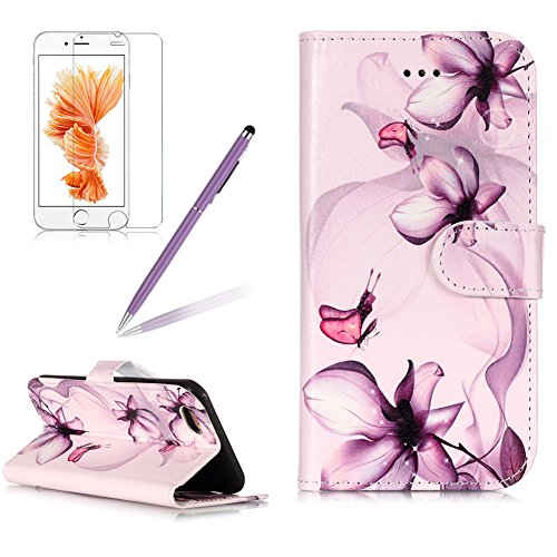 Case for iPhone 6 Plus,Girlyard Colorful Printing Painting Premium PU Leather+TPU Inner Book Style Magnetic Closure Flip Stand Feature with Screen Protector for iPhone 6S Plus-Purple Flower