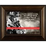 Firefighter- Here I Am By Todd Thunstedt 20x26 Flag Verse Saying Fire First Responder Fireman Firefighter Helmet Engine Halligan Chief Hose Forest Smokey Ax Jesus Framed Art Print Wall Décor Picture