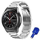 Bepack Bands Samsung Gear S3 Watch, 22mm Stainless Steel Metal Replacement Smart Watch Accessories Wrist Strap S3 Frontier Classic Bands Pin Link Remover Tool Woman Man Silver