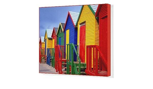 Arte en lienzo de casetas de playa, pez Hoek, Cape Peninsula, ciudad del Cabo, Sudáfrica, África: Amazon.es: Hogar