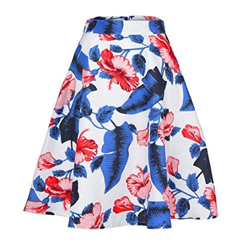 Jupe Solike Jupe Jupe pour lgant Femmes Taille Voyage Blanc Plage De Mini Haute Fleur Plisse Bohme imprim Courte Ete Jupe SqXpxAq