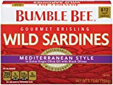 BUMBLE BEE Mediterranean Style Wild Sardines in Extra Virgin Olive Oil, 3.75 Ounce Can (Pack of 12), High Protein Food, Keto Food and Snacks, Gluten Free Food, High Protein Snacks, Canned Food