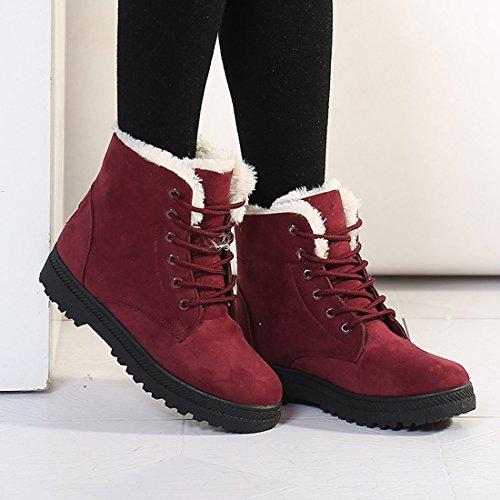 O & N Scarpe Da Donna In Pelle Scamosciata Inverno Faux Fur Lace Up Scarpe Da Neve In Cotone Piatto Rosso