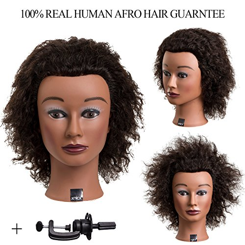 xnicx 004 Afro 100% Human Hair Training head Cosmetology Mannequin Head Female Hairdressing Mannequin Head