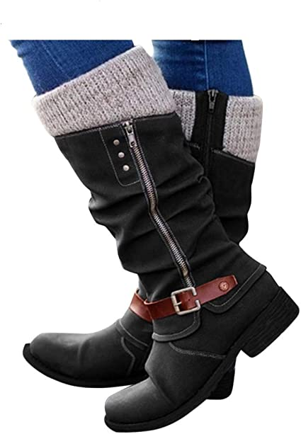 Mid Calf Boots Sweater Knit Side Zip