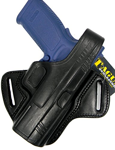 TAGUA THUMB BREAK BLACK LEATHER RIGHT HAND BELT HOLSTER FOR RUGER SR9C SR40C COMPACT