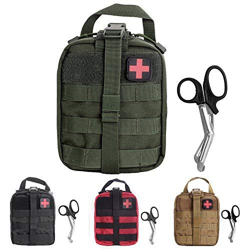 (Compact Tactical MOLLE Rip-Away EMT Medical First Aid Utility Pouch (Green with First Aid Patch 2))