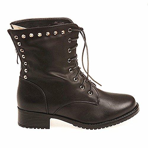 Bottine cloutée femme fourrure Fourré lacets talon chaussure hiver NOIR C065