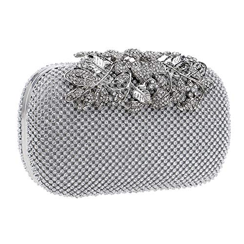 Main Clutch Silver Mariage Soirée Diamant Scintillant Feuilles Bal Fête De à Sac Pochettes Femme Sac qgZKBgv