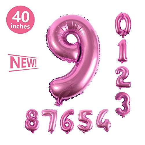 (Number Balloons, Toufftek Pink Foil 40 Inch Number 9 Funny Number Balloons for Birthday Party Baby Shower Wedding Anniversary Halloween)