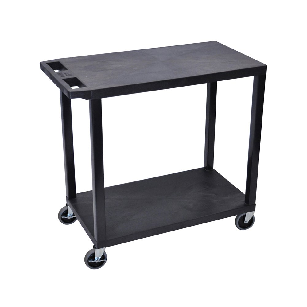 Offex 18 X 32-Inch Cart with 2 Flat Shelves, Black (OF-EC22-B)