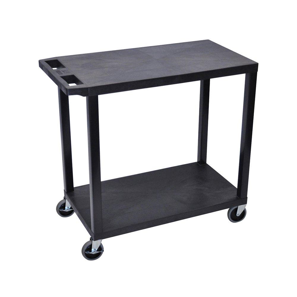 LUXOR EC22-B Cart, 2 Flat Shelves, 18'' x 32'', Black