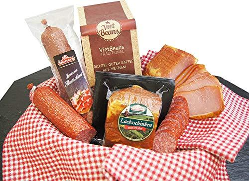 Schlemmerbox Wurstgeschenk & Kaffee Set gemahlener Röstkaffee | Salami Schinken geräuchert auf Buchenholz | Delikatessen…