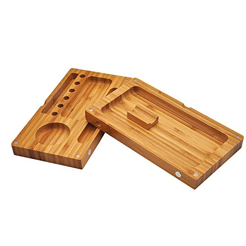 Discreet Wood Box Magnetic Rolling Tray 2 Layers