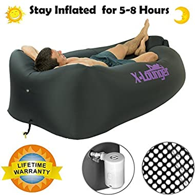 Inflatable Lounger with Air Valve, Fast Inflate by Air Pump or Wind Air Bag Lounger With Mesh, the Lightest Nylon Air Lounger for Beach,Camping,Pool,Float on Water, Stay Inflated 5 to 8 Hours