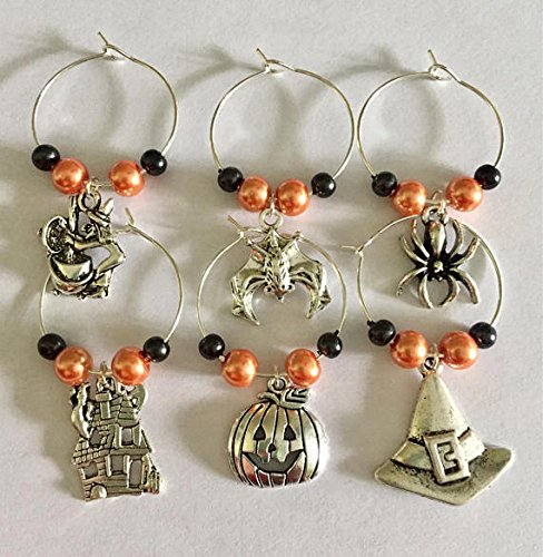 (Halloween Themed Wine Glass Charms, Scary Spooky Party Set of Six Wine Glass)