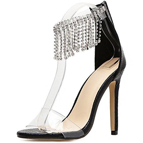Cheville Ouvert Femme Bout Mariage Zyqme Talons Strass Soirée Glands Sandales Hauts De Noir Chaussures Stiletto Dames nAqYccU1