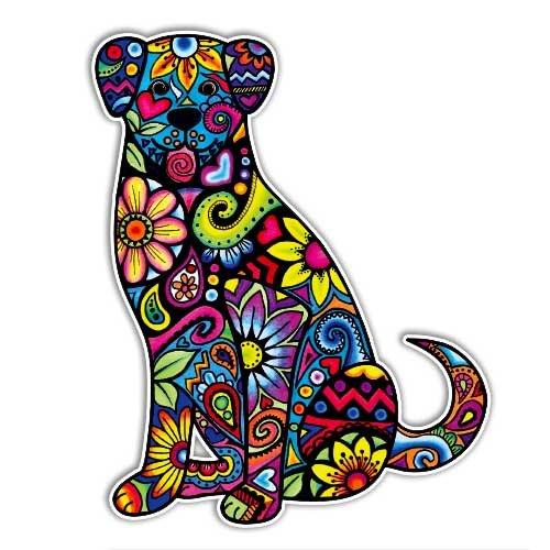 Dog Sticker Colorful Decal by Megan J Designs - Laptop Car Vinyl Tumbler Sticker