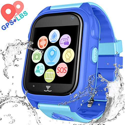 Gsm Watch Phone Bluetooth - YENISEY Kids Waterproof Smart Watch Phone - Children Water Resistant GPS Tracker Watch with Call Talkie Walkie Games Sports Wristband for Boys Girls