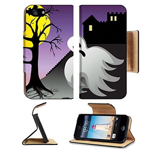Fatal Frame 2 Costumes (MSD Premium Apple iPhone 5 iPhone 5S Flip Pu Leather Wallet Case iPhone5 IMAGE ID: 3628859 Spooky halloween ghost and bats fly around castle with graves at night)