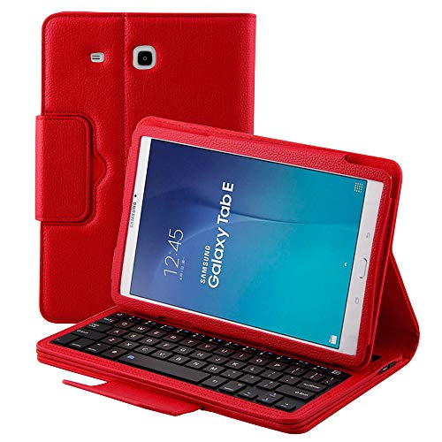 Samsung Full Keyboard - Detachable Keyboard Case for Samsung Galaxy Tab E SM-T560 9.6 Tablet Slim Leather Magnetic Removable Wireless Bluetooth Keyboard Smart Cover Protective Stand Folio Multiple Angle Full Protection (Red)