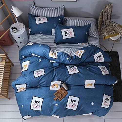 LSXA Literie Ensemble Solstice Maison Textile Literie Taie d'oreiller Couverture de Couette Reine Taille Garçon Fille Chambre Belle Chien Motif De Bande Dessinée Ludique 150 * 200