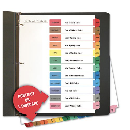 Table of Contents Dividers, Assorted Color 12-Tab, Months, Letter, White ()
