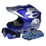 Tengchang Dot Youth & Kids Motocross Offroad Street Helmet Blue Skull Motorcycle Helmet+Goggles+gloves L