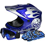 TCMT Dot Youth & Kids Motocross Offroad Street Helmet Blue Skull Motorcycle Helmet Silver Dirt Bike