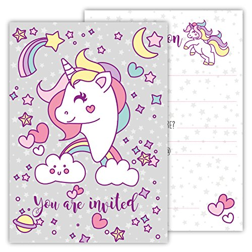 (Funny Birthday Invitations Pack of 12 Cards for Boys Girls Kids Birthday Unicorn Rainbow Clouds Stars Emoji Postcard Invitations Greetings fill-in Set)
