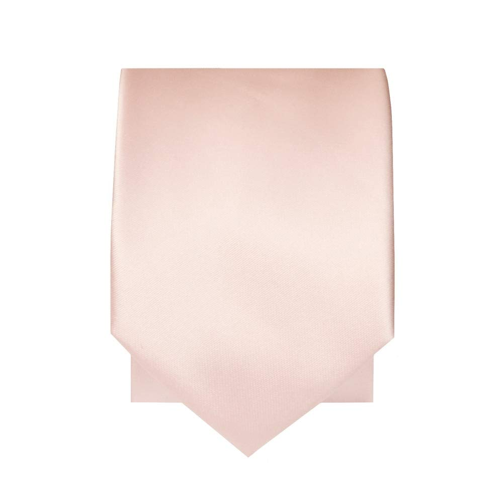 Plain Blush Pink Satin Skinny Boys Tie and Pocket Square Set
