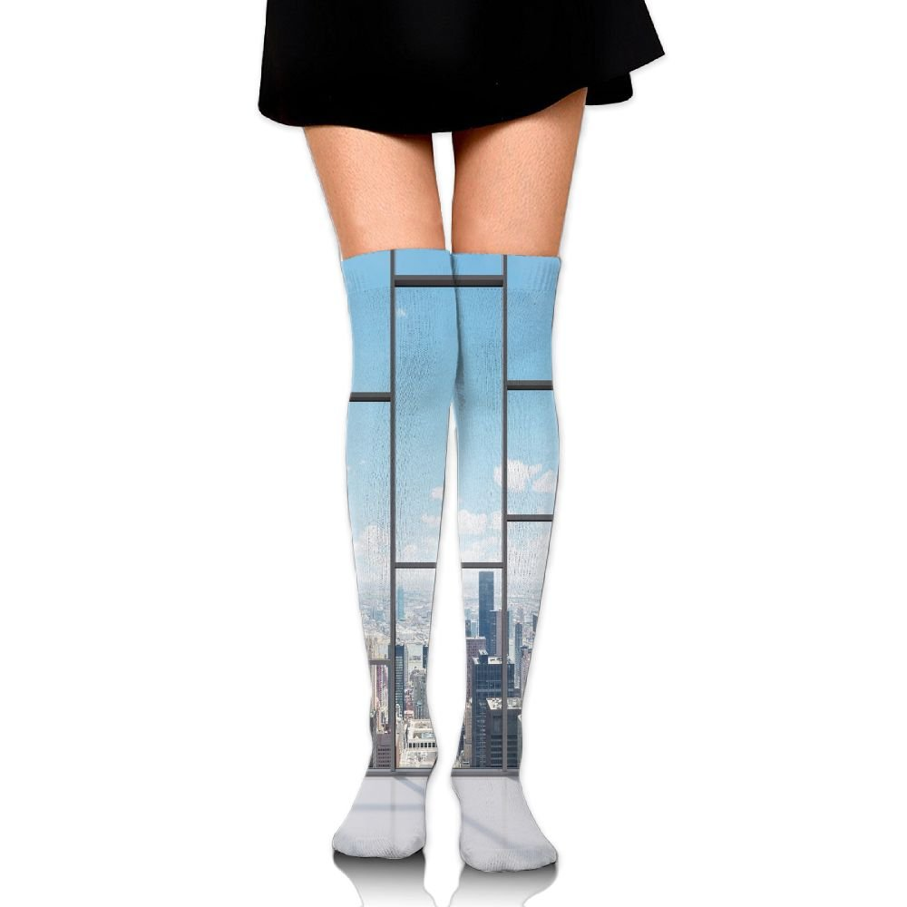 TRUSTINEEgyl Woman Office With Big Wide Windows City Building Skyscrapers View Art Breathable High Boot Socks