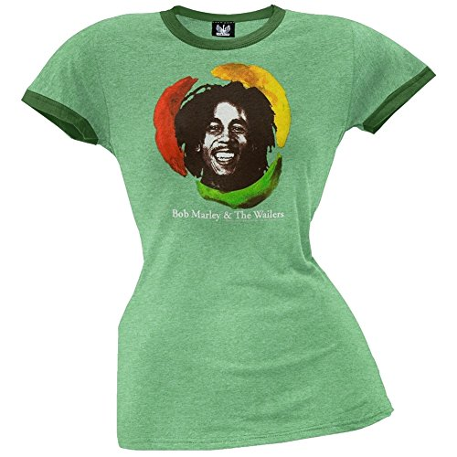Bob Marley - Circle Ladies Ringer T-Shirt - Large