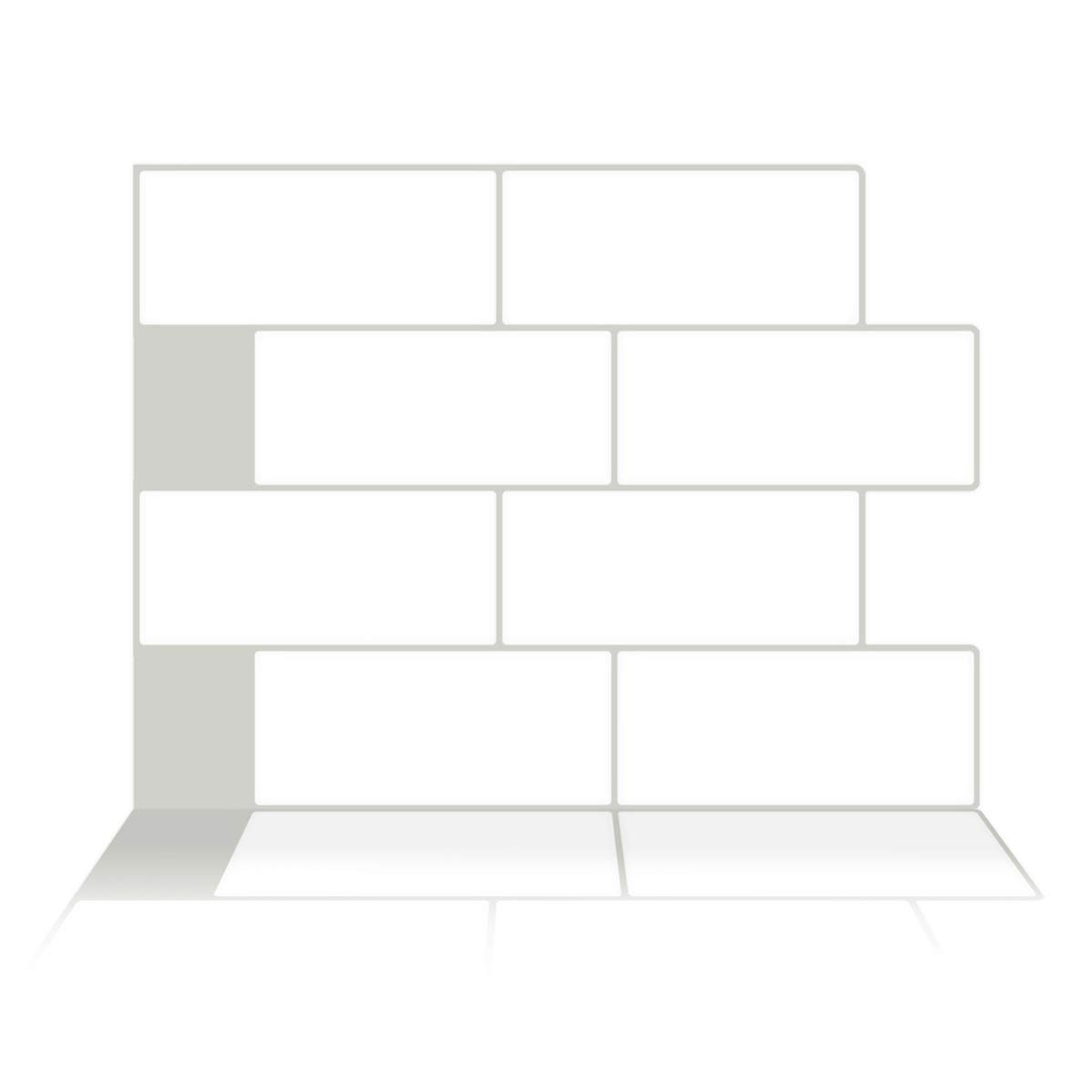Tic Tac Tiles - Premium Anti Mold Peel and Stick Wall Tile Backsplash in Subway Matt Design (White, 6)