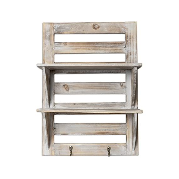 """Besti Rustic Wall Shelves w/Hanging Hooks - Dual Shelving Wall-Mounted Organizer - 2 Tier Storage Rack Brown - Cute Rustic Organizers - Home Decorative Furniture - Farmhouse Wall Shelving - Crafted with natural wood, our shelves feature two shelf levels for displaying pictures, small flower pots, bedroom decor, or cute decorations. Rustic, Vintage Home Style - Ideal for decorating your living room, kitchen, bathroom, or personal space, they match your other furniture or furniture perfectly. Natural Wood Craftsmanship - This wooden wall-mounted organizer is made with high-quality wood, wide shelves, and is an easy-to-hang size at 17.5"""" x 12.5"""" x 5.5"""". - wall-shelves, living-room-furniture, living-room - 51ARFcrLOQL. SS570  -"""