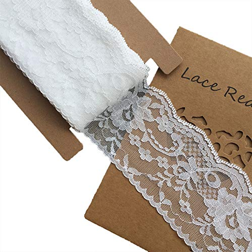 Decorating Ribbon - LACE REALM 3 inches Wide x 10 Yards White Floral Pattern Trim Lace Ribbon for Decorating, Floral Designing and Crafts(10y)
