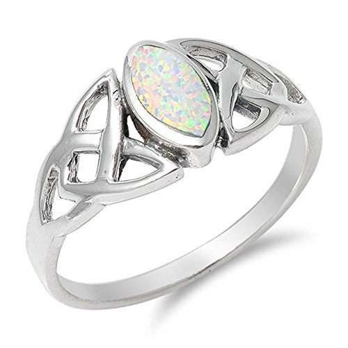 Celtic Knot White Simulated Opal Marquise Ring .925 Sterling Silver Band Size 7