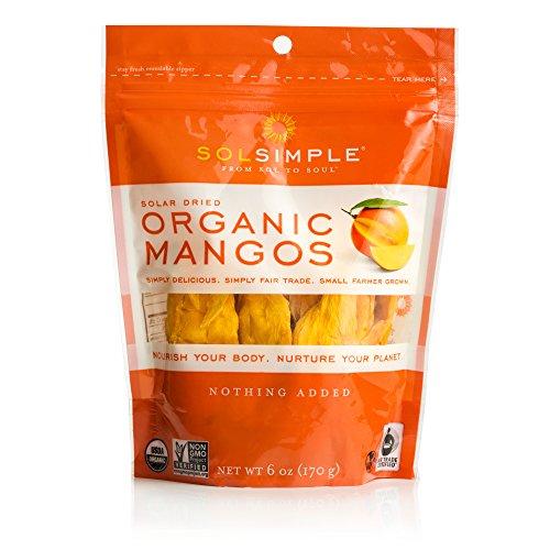 Sol Simple Organic Dried Mangos 6oz, Pack of 2