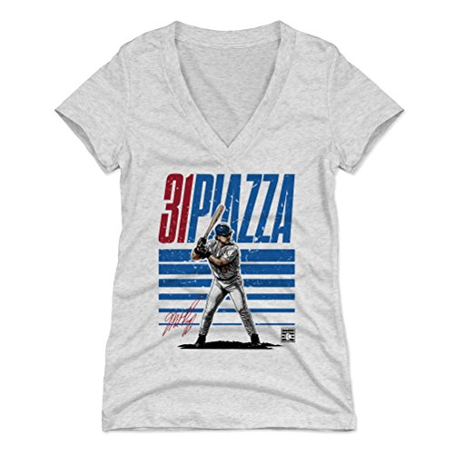 - 500 LEVEL Mike Piazza Women's V-Neck Shirt (Small, Tri Ash) - New York Mets Shirt for Women - Mike Piazza Starter B