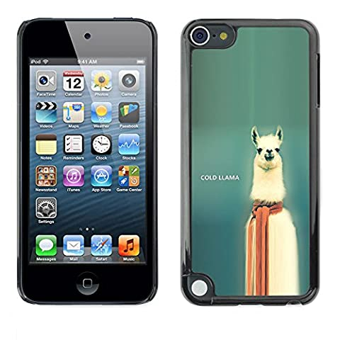 Hard PC Protective Case Smartphone Case Cover for Apple iPod Touch 5 // Cold Llama - Funny // (Ipod 5 Llama Case)