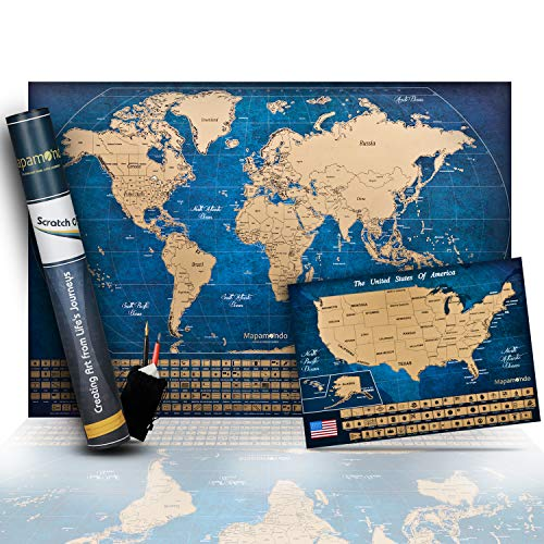 Scratchable World Map Poster + United States Map Bonus - Includes Complete Accessories Set & All Country Flags - Scratch Off Map Bundle - Premium Wall Art Gift for Travel Lovers - Laminated Maps