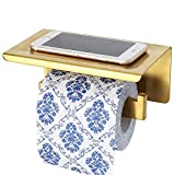 Sayayo Toilet Paper Holder Roll Holder with Shelf, Optional 3M Self Adhesive or Screws Mounted, SUS-304 Stainless Steel Brushed Golden Finished, EGYT550-G