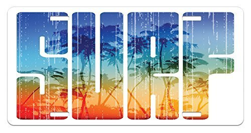zaeshe3536658 Surf License Plate, Summer Surf Retro Letters That Reflect the Seacoast with Palm Tree Extreme Sports Art, High Gloss Aluminum Novelty Plate, 6 X 12 Inches, Navy Orange by zaeshe3536658