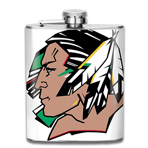 North Dakota Fighting Sioux Stainless Steel Hip Flask, Pocket Flagon Camping Wine Pot Portable Liquor Flagon Retro Pocket Flask For Men And Women Gift - North Dakota Wine