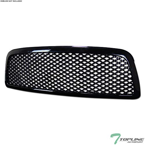 Topline Autopart Black Mesh Front Hood Bumper Grill Grille ABS For 09-12 Dodge Ram 1500 ()