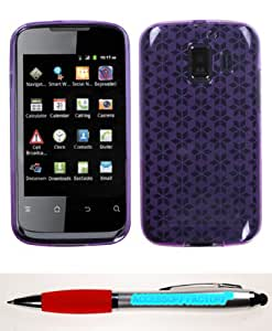 Accessory Factory(TM) Bundle (Phone Case, 2in1 Stylus Point Pen) HUAWEI U8665 (Fusion 2) Purple Hexagon Candy Skin Cover