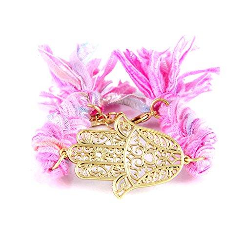 (Blue Pearls - Ettika - Pink Ribbons and Yellow Gold Hamsa Bracelet - ETK 0129 Hamsa Rose ETK 0129 Hamsa)