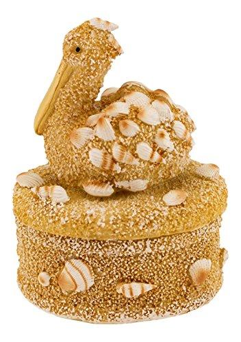 Sand and Seashells Pelican Oval Lidded Trinket Box