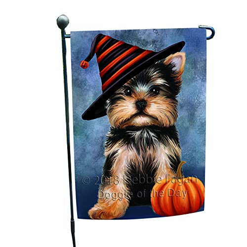 Doggie of the Day Happy Halloween Yorkshire Terrier Dog Wearing Witch Hat with Pumpkin Garden Flag GFLG55010]()